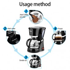 220V Automatic Coffee Machine with Glass Pot & Basket Filter