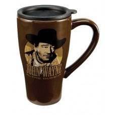 Vandor 15151 John Wayne 16 oz Ceramic Travel Mug with Lid, Brown and Tan