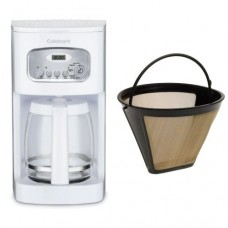 Cuisinart DCC-1100 12-Cup Programmable Coffeemaker, White, and Filter Bundle