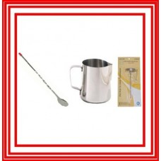 1 Espresso Milk Frothing Pitcher 33 + 1 Pc Thermometer + 1 Spoon NEW