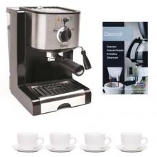 Capresso Ec100 Refurbished Pump Espresso and Cappuccino Machine + 3 oz Ceramic Tiara Espresso Cup and Saucer (Set of 4) + Urnex Dezcal Home Activated Coffee/ Espresso Descaler