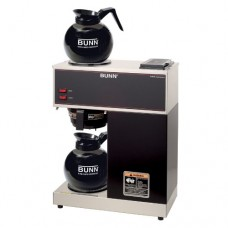 BUNN 33200.0015 VPR-2GD 12-Cup Pourover Commercial Coffee Brewer with Upper and Lower Warmers and Two Glass Decanters, Black