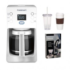 Cuisinart DCC-2800W DCC2800W Perfect Temp 14-Cup Programmable Coffeemaker(White) w/ Coffee Mug & Iced Beverage Cup & Coffee/ Espresso Descaler