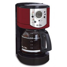 Mr. Coffee 12-Cup Programmable Coffee Maker with Brew Strength Selector, Red