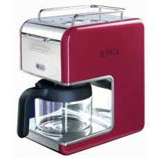 DeLonghi 5 Cup Kmix Drip Coffee Maker, Features Thermo Gen Heating System with Opti Temp to Maintain Perfect Heat, Includes One Touch Control and Anti Drip Function with a Built In Cup Warmer, Red - Stainless Steel Finish