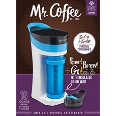 Mr. Coffee Pour! Brew! Go! 16-Ounce Personal Coffee Maker with Insulated TO-GO mug, Caffeine Blue, BVMC-MLBU