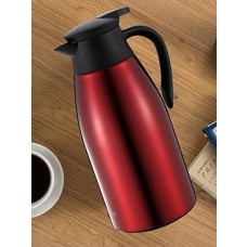 Huskey 68 Oz Stainless Steel Thermal Carafe / Double Walled Vacuum Thermos / 12 Hour Heat Retention / 2 Litre