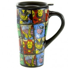 Silver Buffalo Marvel Characters Grid Ceramic Travel Mug with Friction Lid, 18 Ounces, Multicolored (MC6188)