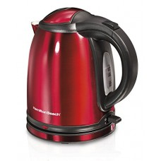 Hamilton Beach Cordless Electric Tea Kettle, Concealed Heating Element and On/Off Switch with Power Indicator Light, Built-In Safety Auto Shutoff & Boil-Dry Protection, Red