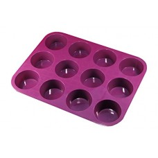 Premium 12 Cup Muffin Pan (Deep Plum) Non Stick Bakeware with BONUS RECIPE BOOKLET- 100% Silicone Baking Molds for All Recipes - Durable Mini Cake Pans/ Tart Pans/ Quiche Pans - Microwave and Oven Safe up to 450 deg F. LIFETIME Guarantee!