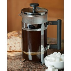 FP Coffee Makers™ French Press w/ Glass Carafe and Sturdy Metal Frame: Elegant coffee maker with quality you can see and feel. Smooth plunger action, fine mesh filter, sturdy handle and frame, thick glass, all parts dishwasher safe