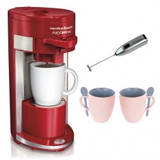 Hamilton Beach 49962 Flex Brew Single-Serve Coffeemaker Bundle with Knox 16oz. Mug With Spoon (2 Pack) and Knox Milk Frother