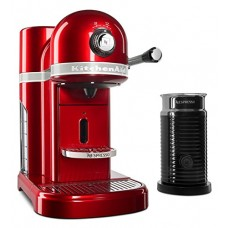 KitchenAid Nespresso Candy Apple Red Manual Espresso Maker with Aeroccino Milk Frother