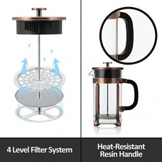 IdealHouse French Press Coffee Maker, Glass 8 Cups French Press Coffee Espresso Tea Maker Kit with Triple Filters, Stainless Steel Plunger and Heat Resistant Glass Pot,34 ounce/1 Liter