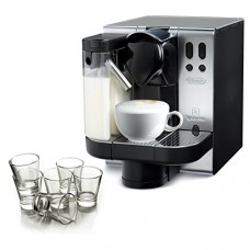 DeLonghi Lattissima Nespresso Metal Capsule Espresso and Cappuccino Machine with Free Set of 6 Glasses