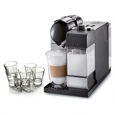 DeLonghi Lattissima Nespresso Silver Capsule Espresso and Cappuccino Machine with Free Set of 6 Glasses
