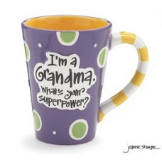 "12 Oz Grandma Coffee Mug with ""I'm A Grandma, What's Your Super Power"" Great Gift?"