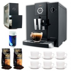 Jura Capresso Impressa F7 with Grand Aroma Whole Bean Coffee (Espresso), 25-Pack Coffee Machine Cleaning Tablets, Warmer Black Stainless Steel and Set of 6 Ceramic Tiara Espresso Cups (3 oz) and Saucers
