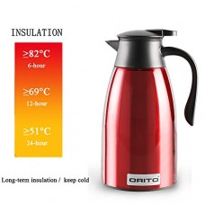 ORITO Thermal Carafe Stainless Steel Double Wall Vacuum Insulated Coffee Carafe Thermos Pot with 24 Hours Hot and 12 Hours Cold for Coffee,Tea and Water,55 Oz(1.6Liter) Capacity Red
