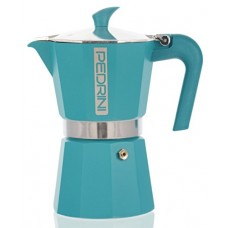 Pedrini Italy Colours Collection Stovetop Moka Espresso Maker 1, 2, 3, and 6 Cup Green, Pink, and Blue with Italian EN601 Aluminium and Saftey Valve