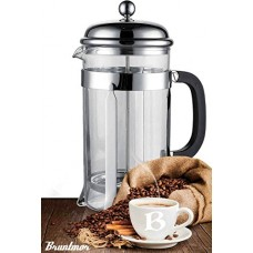 Bruntmor, 8 Cup (34 Oz) French Press Coffee and Tea Maker with 3 Bonus Filter Screens, Stainless Steel Plunger & Borosilicate Heat Resistant Glass (Instructions Included)