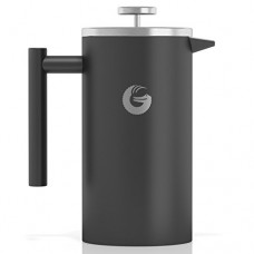 Large French Press Coffee Maker – Vacuum Insulated Stainless Steel (Grey, 34floz)