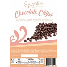 Carvalho Naturals Organic Bittersweet Chocolate Chips - Non-GMO, Kosher, Dairy & Gluten Free Vegan Chocolate Drops - 70% Cacao Baking Chips - Resealable 8 Oz. Pouch