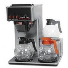 * Three-Burner Low Profile Institutional Coffee Maker, Stainless Steel