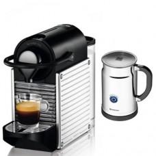 Nespresso C60 Pixie Chrome Espresso Maker, with Aeroccino Plus