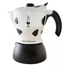 Bialetti Mukka Express 2-Cup Cow-Print Stovetop Cappuccino Maker, Black and White
