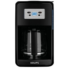 KRUPS EC311 SAVOY Programmable Digital Coffee Maker Machine with Glass Carafe and LED Control Panel, 12-Cups, Black