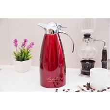 Vacuum Insulated Coffee Flask Double Wall Stainless Steel Coffee Pot ,1.5L Thermal Carafe For Hot & Cold Drinks ,Red Vacuum Jug Water Pithcher 1500ml Insulated Carafe