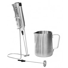 Ozeri Deluxe Milk Frother and 12 oz Frothing Pitcher in Stainless Steel, with Extra Whisk Attachment