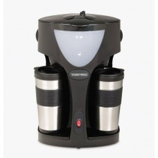 Toastess TFC-42T Silhouette 800-Watt Twin Coffeemaker with 2 Thermal Travel Mugs