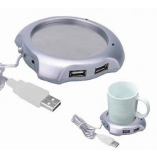 New USB Tea Coffee Cup Mug Warmer Heater Pad with 4 Port USB Hub Gadgets for PC Laptop