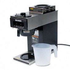 Bunn-O-Matic VP172BLK 12-Cup Two-Station Commercial Pour-O-Matic Coffee Brewer, Stainless Steel, Black