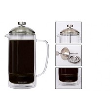 Sonpuro French Coffee Press 34oz (8cup)-Double Wall Insulated Borosilicate Glass Premium Coffee Press & Tea Maker- Microwave Safe Carafe- Enhanced Filtration for Easy Brewing and Original Taste