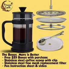 French Press - Best Coffee, Tea & Espresso Maker / 1000 ml... Plus... 3 Free Bonus Gifts ... Stainless Steel Measuring Scoop & Clip, Replacement Mesh Screen for No Ground Guarantee