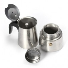 KINGSO Stainless Steel Coffee Percolator Stove Top Maker Moka Espresso Latte Pot 100ml