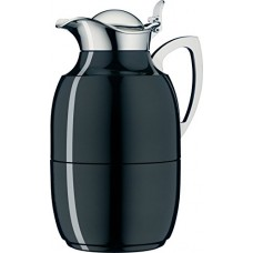 alfi Juwel Glass Vacuum Lacquered Metal Thermal Carafe for Hot and Cold Beverages, 1.0 L, Midnight Black