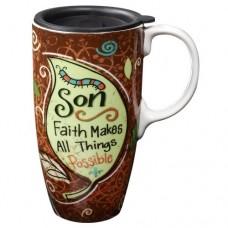 Son Faith Makes All Things Possible Travel Coffee Mug