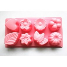 Longzang 8-Cavity Floral Leaf Silicone Cake Soap Decoration Mold