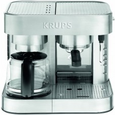 KRUPS XP6040 Die Cast Pump Espresso Machine and Coffee Maker Combination with Milk Frothing Nozzle, 10-Cup, Silver