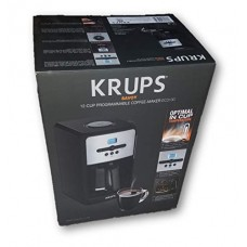 Krups Savoy 12-Cup Programmable Coffee Maker, EC3130, Black with Brushed Metal Trim
