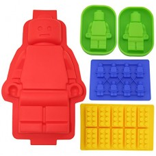Building Bricks&minifigure Silicone Mold in Four Different Sizes.including 1 Large Figure Silicone Cake Mold&2 Medium-sized Figure Silicone Cake or Jelly Mold&1 Minifigure&1 Building Bricks Ice Cube Tray or Candy,jelly &Chocolates Silicone Mold for Lego L