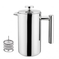 Highwin Small Stainless Steel French Press - 3 cups (4 oz each) Coffee Plunger, Press Pot, Best Tea Brewer & Maker, Quality Cafetiere - Double Walled. Unique Dual-Filter. Individual Serving