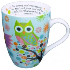 Ceramic Blue Coffee Mug with Owls and Scripture - Be Strong