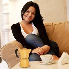 Gialetti Stovetop Espresso Pot - 6 Espresso-cup Italian Coffee Maker - Yellow Color