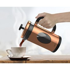bonVIVO GAZETARO I Copper French Press Coffee Maker, Coffee Press Made Of Stainless Steel And Heat Resistant Borosilicate Glass, Design French Press Machine In Copper Finish, With Bonus Filter, 34 Oz