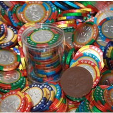 Chocolate Casino Chips - Las Vegas Poker Coins in Clear Tube Box - One Dozen Coins